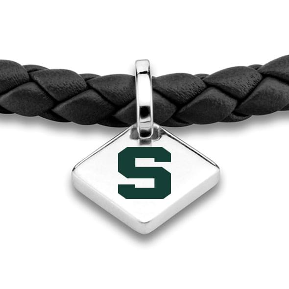 MSU Leather Bracelet with Sterling Silver Tag - Black - Image 2