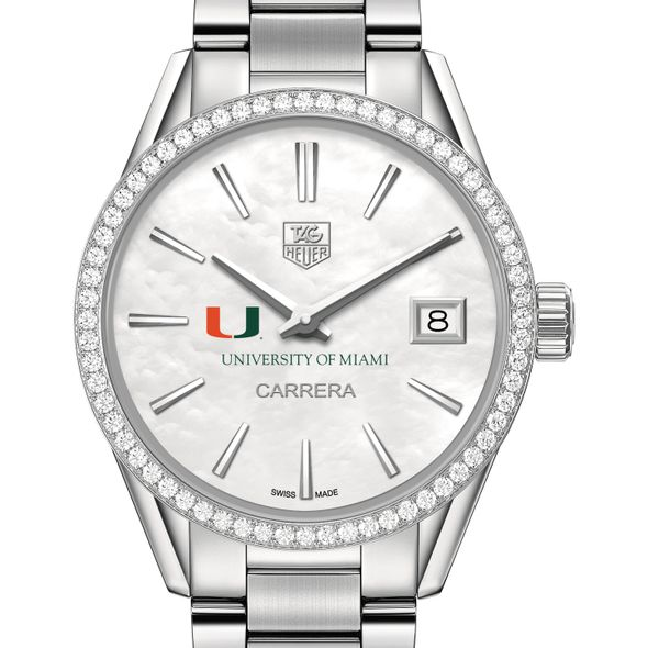 University of Miami Women's TAG Heuer Steel Carrera with MOP Dial & Diamond Bezel - Image 1