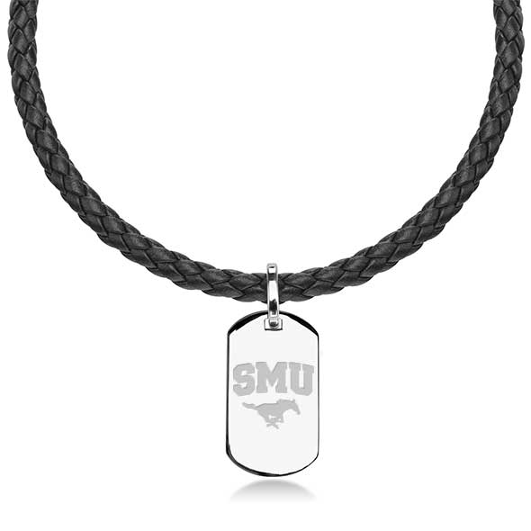Southern Methodist University Leather Necklace with Sterling Dog Tag