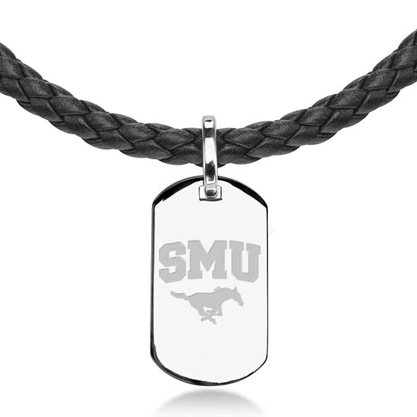 Southern Methodist University Leather Necklace with Sterling Dog Tag - Image 2