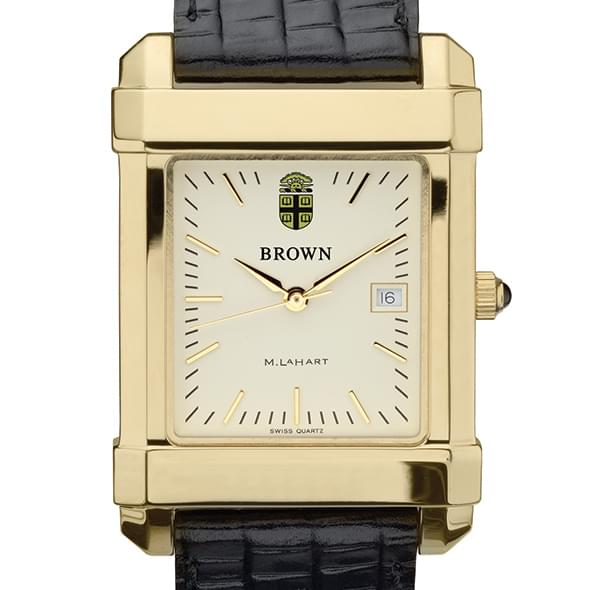 Brown Men's Gold Quad Watch with Leather Strap