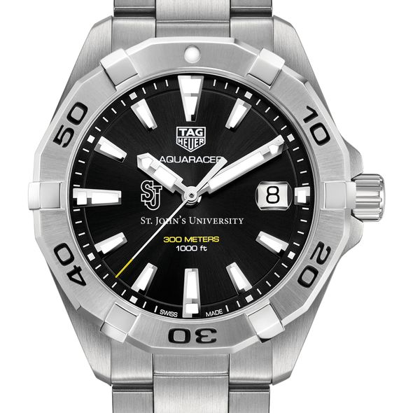 St. John's University Men's TAG Heuer Steel Aquaracer with Black Dial - Image 1