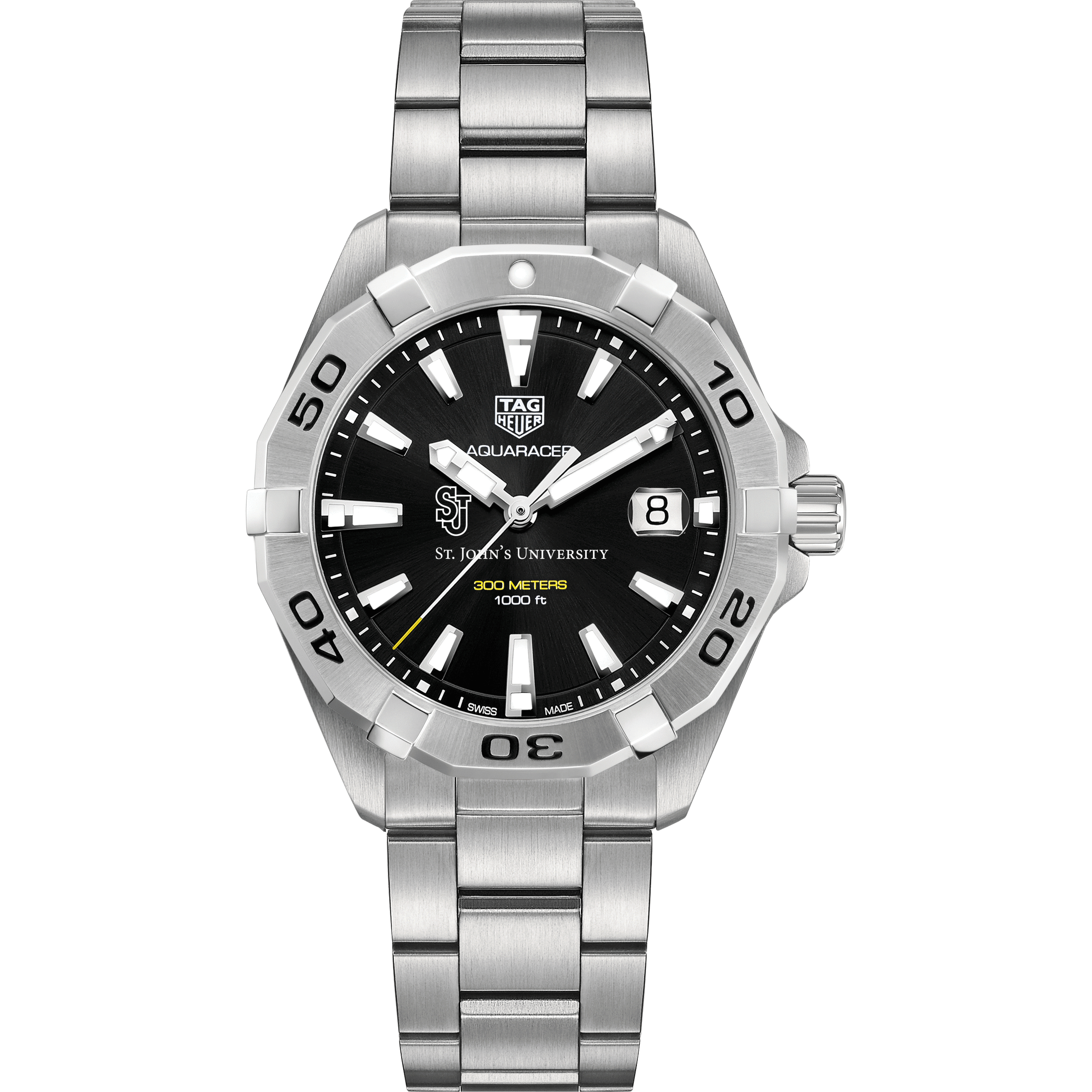 St. John's Men's TAG Heuer Steel Aquaracer with Black Dial - Image 2