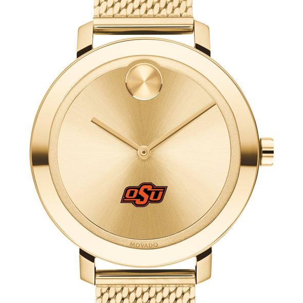 Oklahoma State Women's Movado Bold Gold with Mesh Bracelet - Image 1