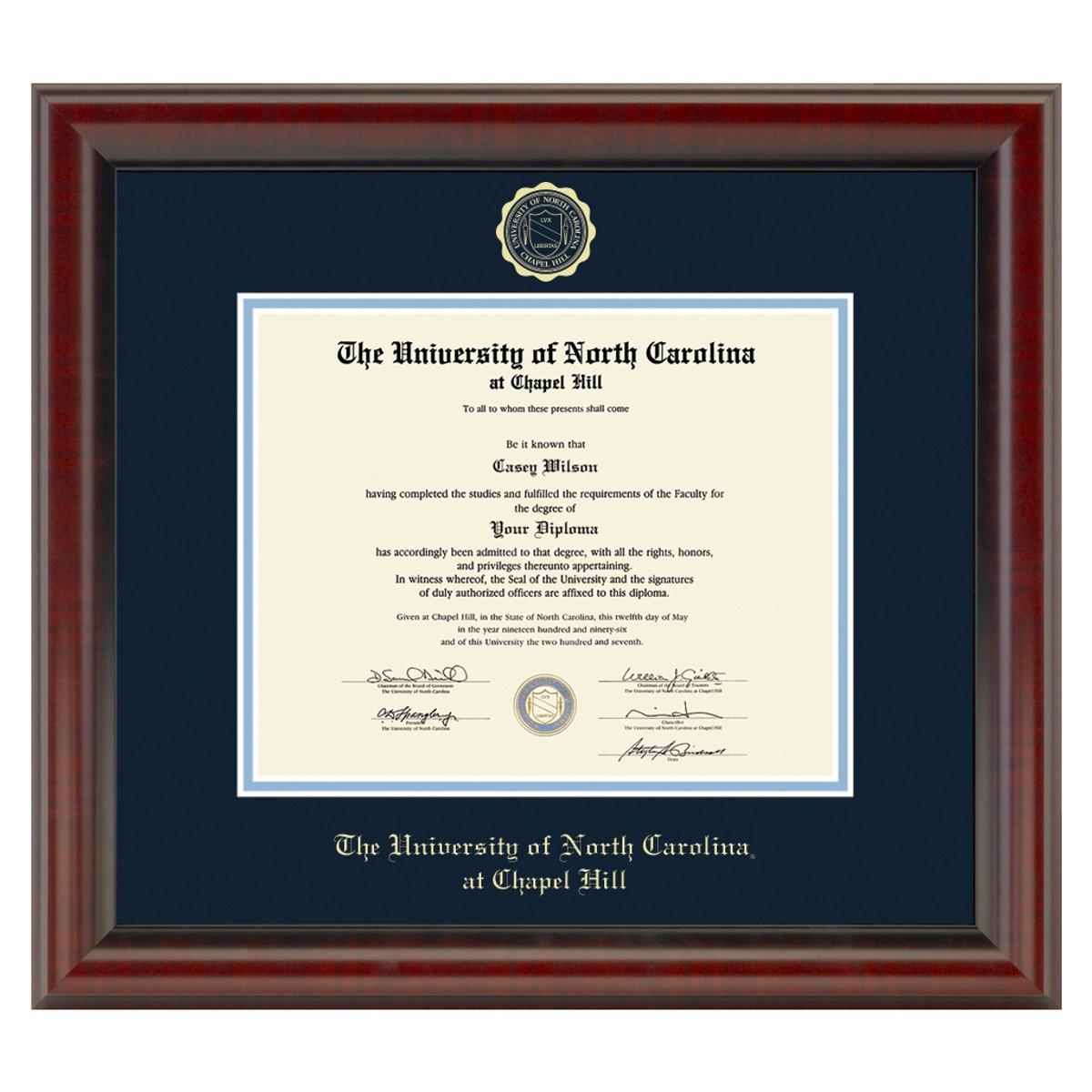 Official University Of North Carolina Diploma Frame The
