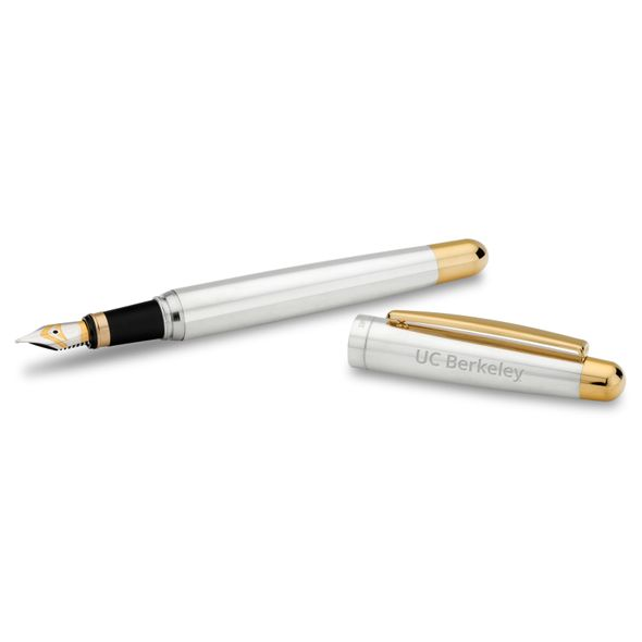 Berkeley Fountain Pen in Sterling Silver with Gold Trim