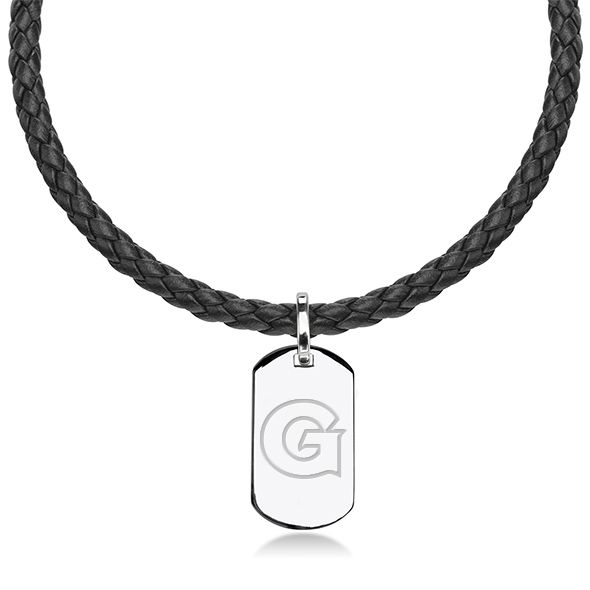 Georgetown University Leather Necklace with Sterling Dog Tag