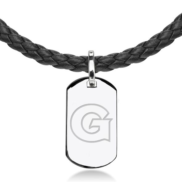 Georgetown University Leather Necklace with Sterling Dog Tag - Image 2