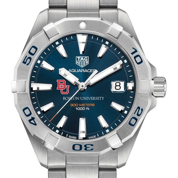 Boston University Men's TAG Heuer Steel Aquaracer with Blue Dial
