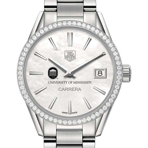 University of Mississippi Women's TAG Heuer Steel Carrera with MOP Dial & Diamond Bezel