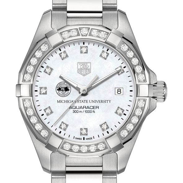 Michigan State W's TAG Heuer Steel Aquaracer with MOP Dia Dial & Bezel