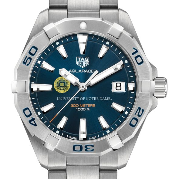 University of Notre Dame Men's TAG Heuer Steel Aquaracer with Blue Dial