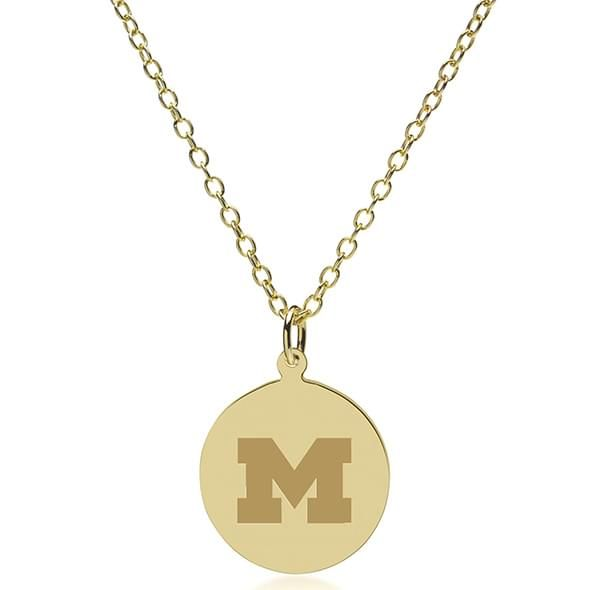 University of Michigan 14K Gold Pendant & Chain - Image 2