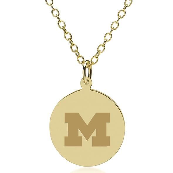 University of Michigan 18K Gold Pendant & Chain