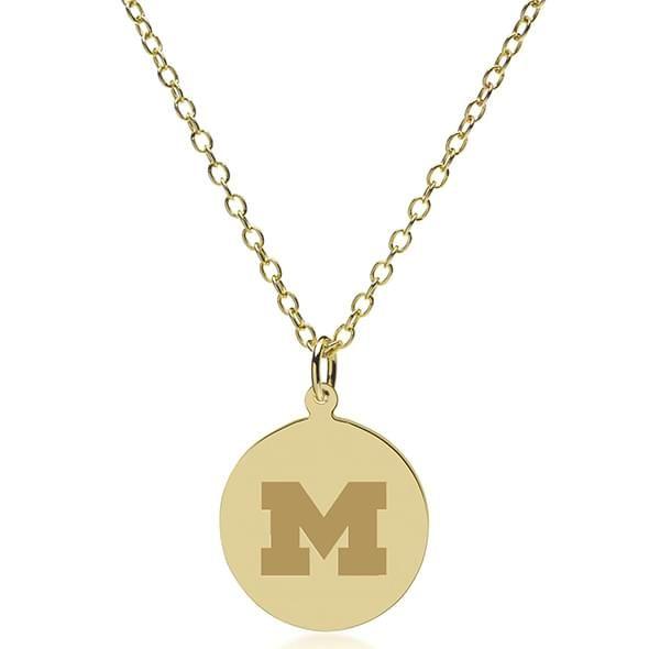 University of Michigan 18K Gold Pendant & Chain - Image 2