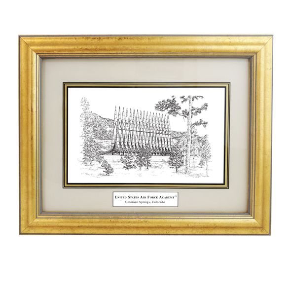 Framed Pen and Ink US Air Force Academy Print