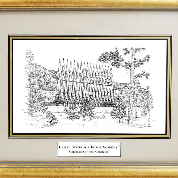 Framed Pen and Ink US Air Force Academy Print - Image 2