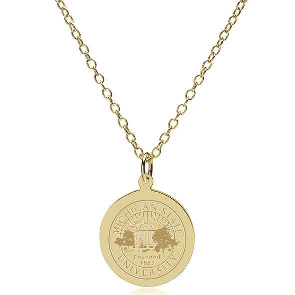 Michigan State 14K Gold Pendant & Chain - Image 2