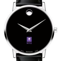 New York University Men's Movado Museum with Leather Strap