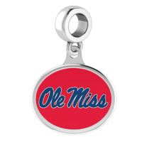 Ole Miss Round Enameled Drop Charm