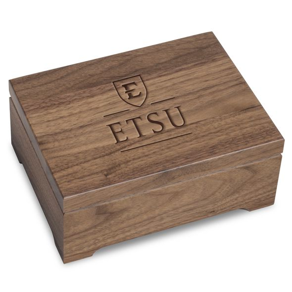 East Tennessee State University Solid Walnut Desk Box - Image 1