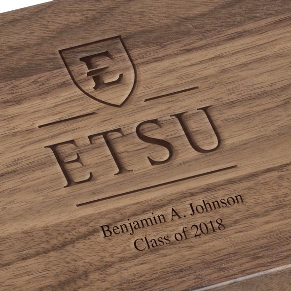 East Tennessee State University Solid Walnut Desk Box - Image 3