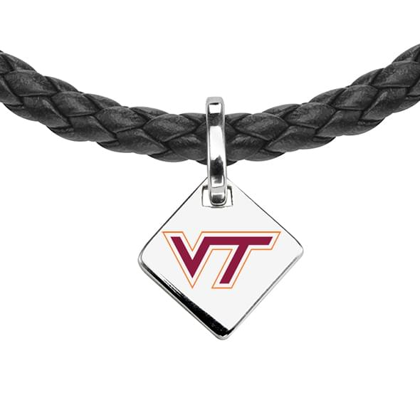 Virginia Tech Leather Necklace with Sterling Silver Tag - Image 2