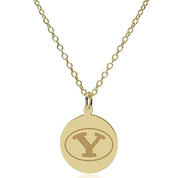 Brigham Young University 18K Gold Pendant & Chain - Image 2