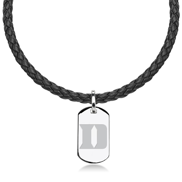 Duke University Leather Necklace with Sterling Dog Tag