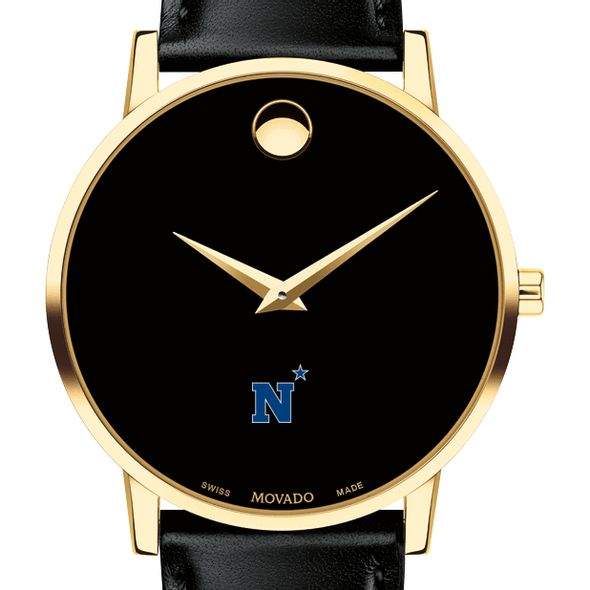 US Naval Academy Men's Movado Gold Museum Classic Leather