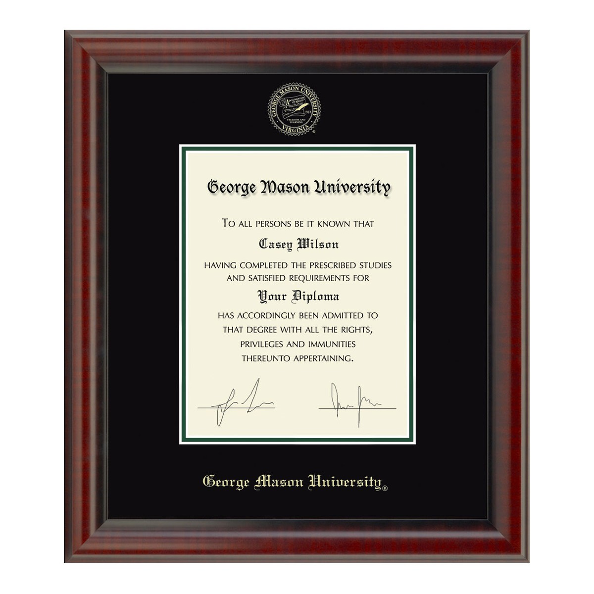 Official George Mason University Diploma Frame The