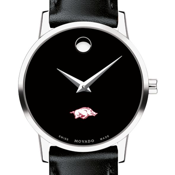 University of Arkansas Women's Movado Museum with Leather Strap - Image 1