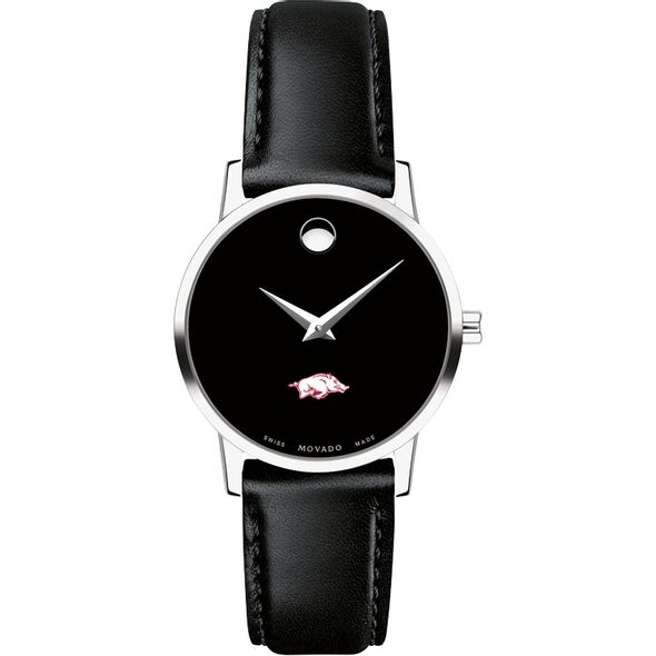 University of Arkansas Women's Movado Museum with Leather Strap - Image 2