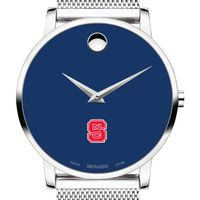 North Carolina State Men's Movado Museum with Blue Dial & Mesh Bracelet