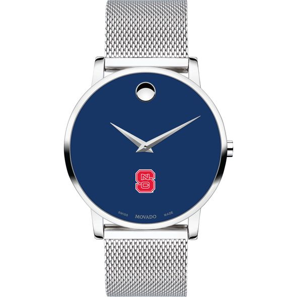 North Carolina State Men's Movado Museum with Blue Dial & Mesh Bracelet - Image 2