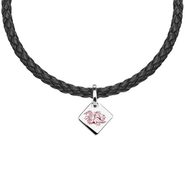 University of South Carolina Leather Necklace with Sterling Silver Tag - Image 1