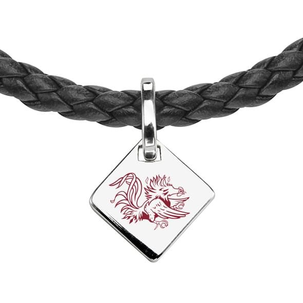 University of South Carolina Leather Necklace with Sterling Silver Tag - Image 2