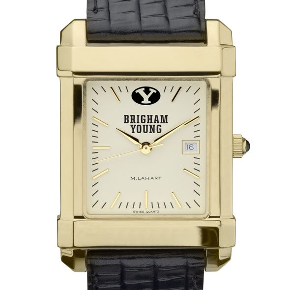 Brigham Young University Men's Gold Quad with Leather Strap