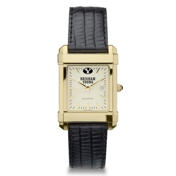 Brigham Young University Men's Gold Quad with Leather Strap - Image 2
