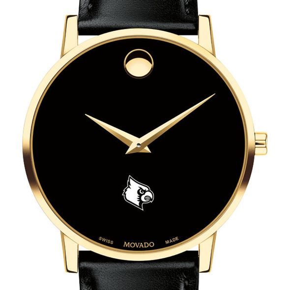 University of Louisville Men's Movado Gold Museum Classic Leather