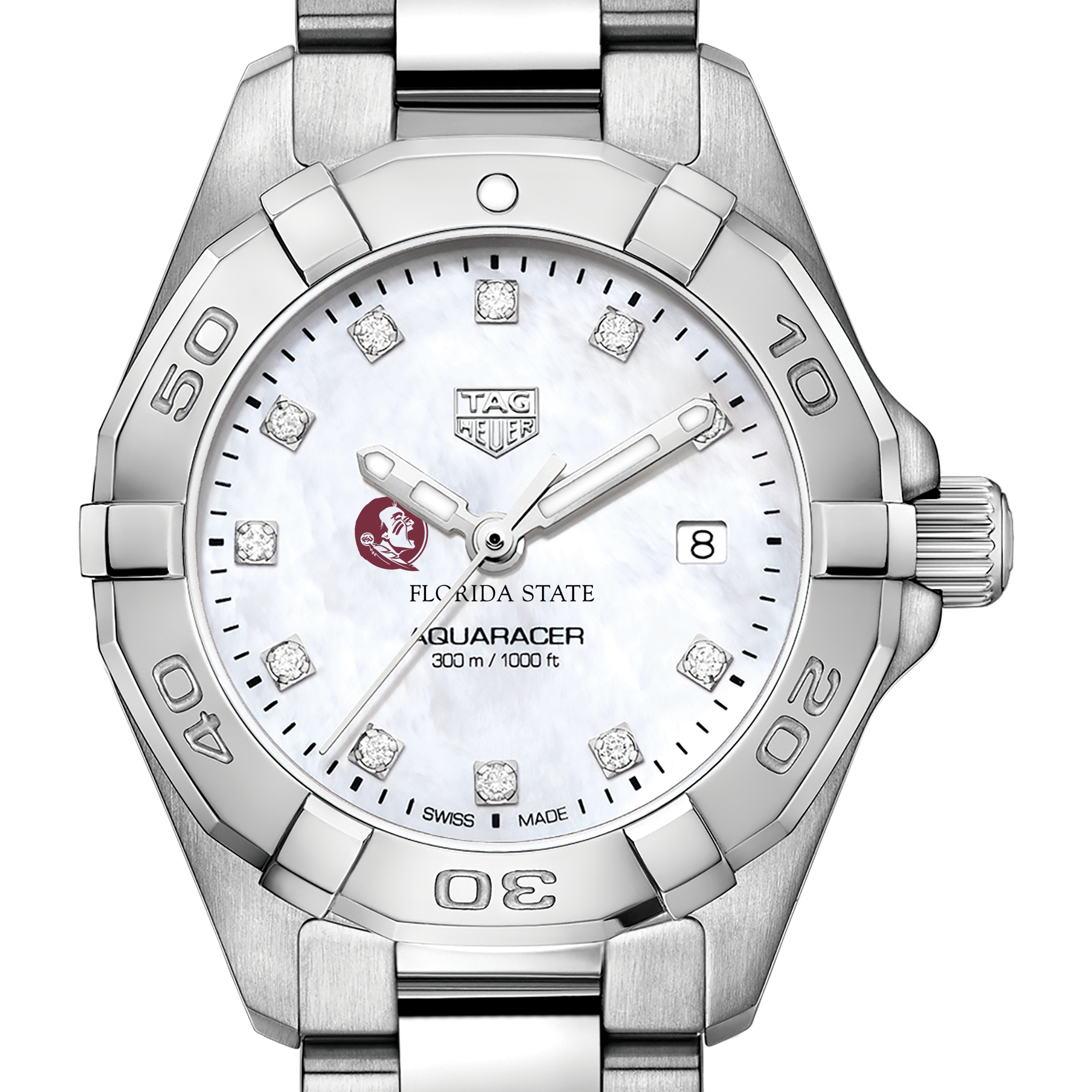 Florida State Women's TAG Heuer Steel Aquaracer with MOP Diamond Dial