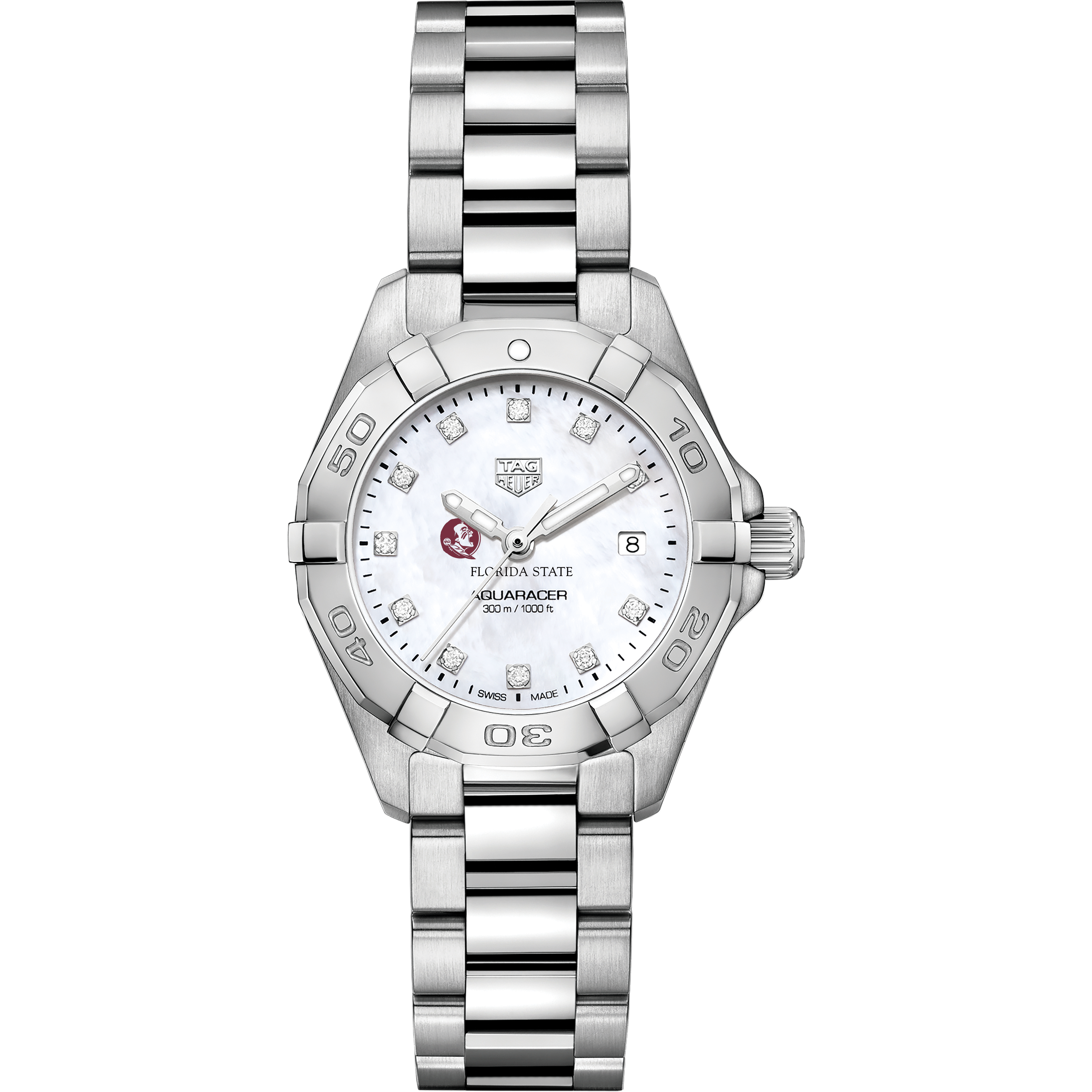 Florida State Women's TAG Heuer Steel Aquaracer with MOP Diamond Dial - Image 2