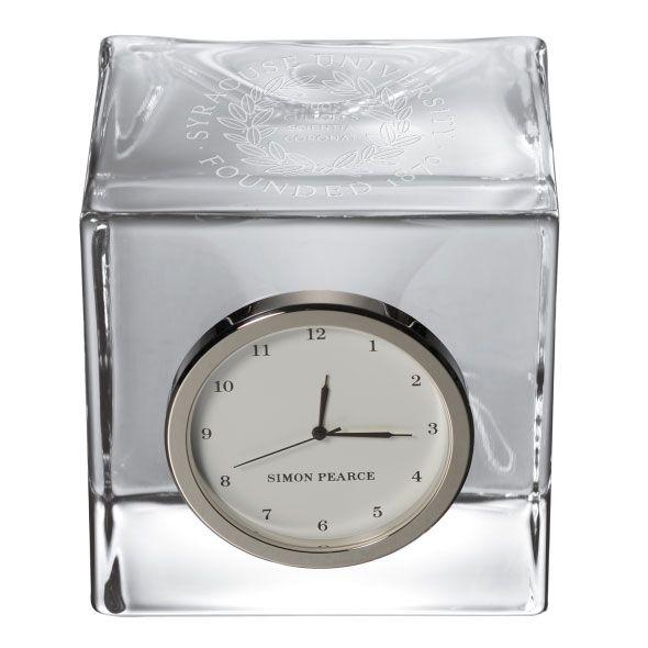 Syracuse University Glass Desk Clock by Simon Pearce - Image 2