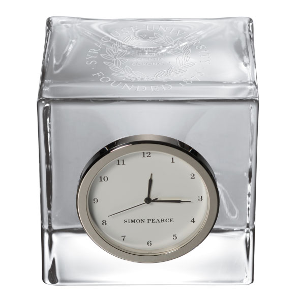 Syracuse University Glass Desk Clock by Simon Pearce - Image 2