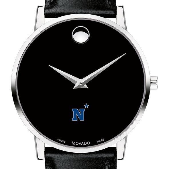US Naval Academy Men's Movado Museum with Leather Strap