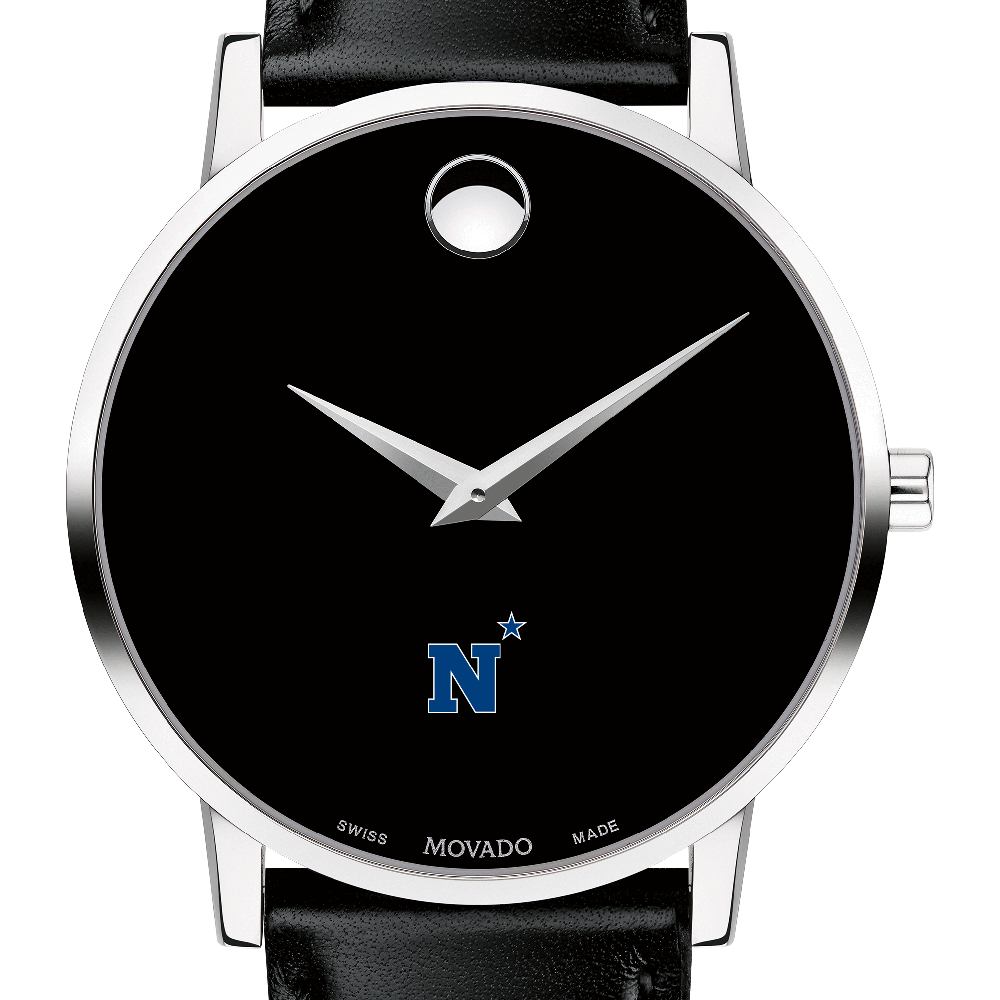 USNA Men's Movado Museum with Leather Strap