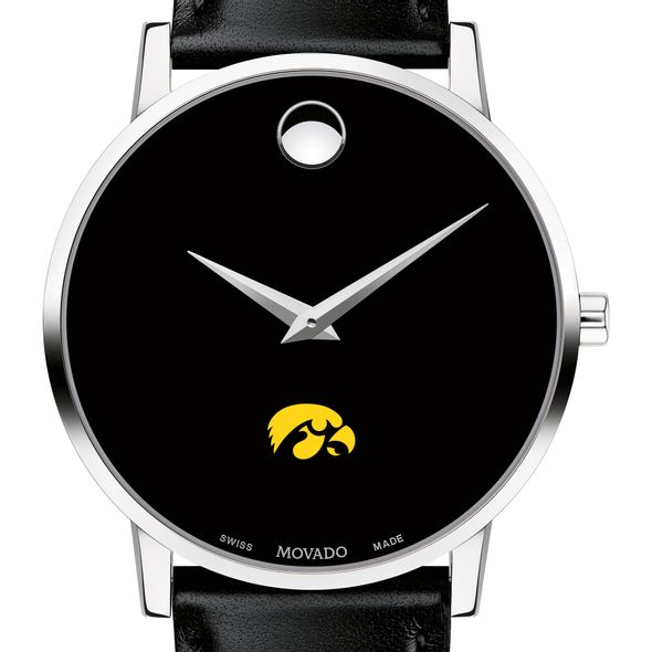 University of Iowa Men's Movado Museum with Leather Strap