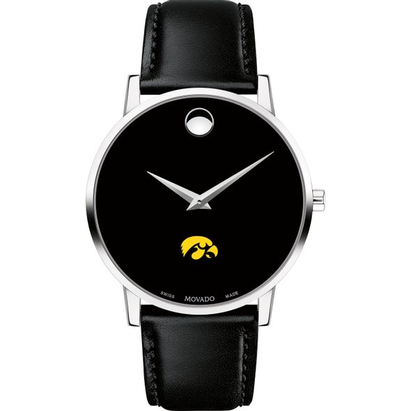 University of Iowa Men's Movado Museum with Leather Strap - Image 2
