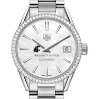 Washington State University Women's TAG Heuer Steel Carrera with MOP Dial & Diamond Bezel