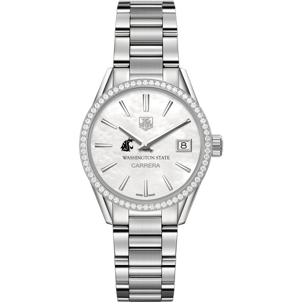 Washington State University Women's TAG Heuer Steel Carrera with MOP Dial & Diamond Bezel - Image 2